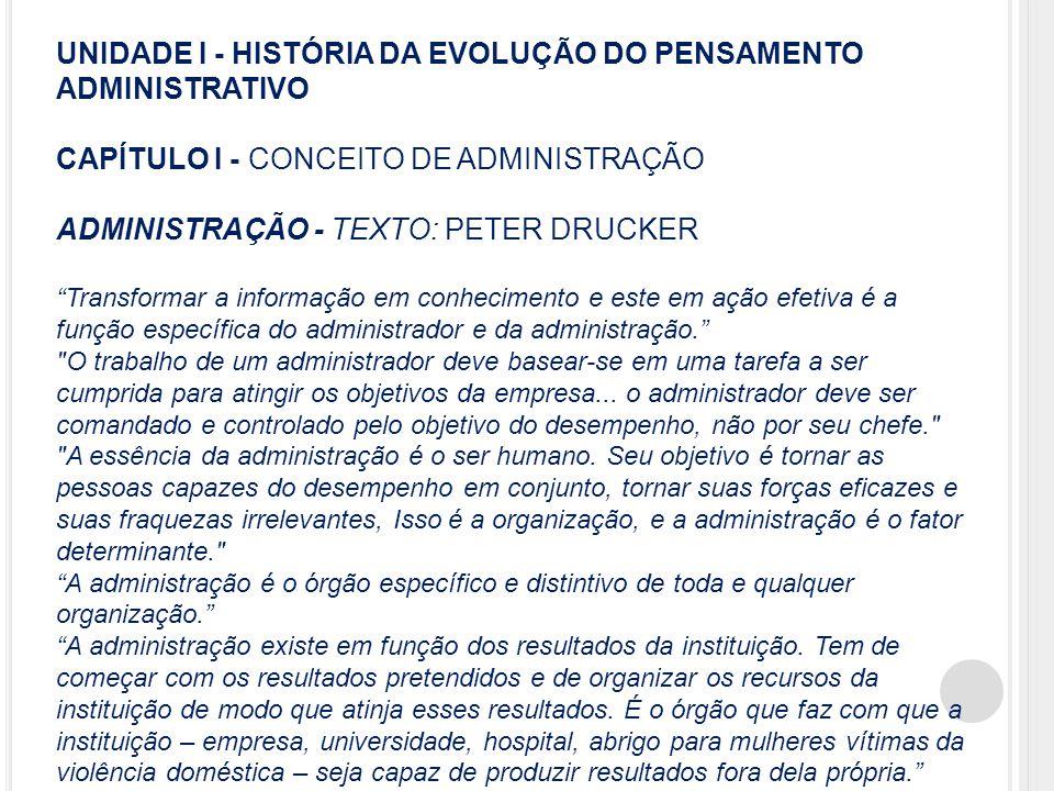 """UNIDADE I - HISTÓRIA DA EVOLUÇÃO DO PENSAMENTO ADMINISTRATIVO CAPÍTULO I - CONCEITO DE ADMINISTRAÇÃO ADMINISTRAÇÃO - TEXTO: PETER DRUCKER """"Transformar"""
