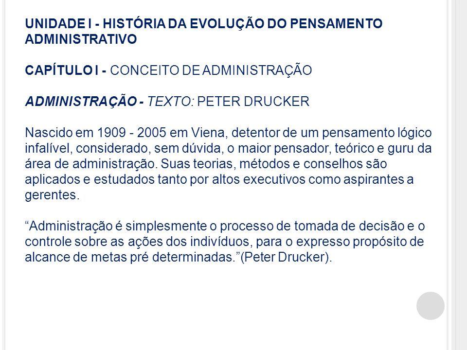 UNIDADE I - HISTÓRIA DA EVOLUÇÃO DO PENSAMENTO ADMINISTRATIVO CAPÍTULO I - CONCEITO DE ADMINISTRAÇÃO ADMINISTRAÇÃO - TEXTO: PETER DRUCKER Nascido em 1