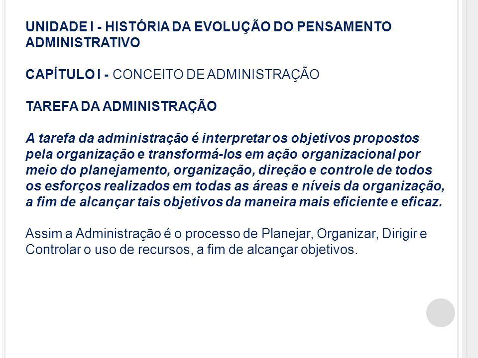 UNIDADE I - HISTÓRIA DA EVOLUÇÃO DO PENSAMENTO ADMINISTRATIVO CAPÍTULO I - CONCEITO DE ADMINISTRAÇÃO TAREFA DA ADMINISTRAÇÃO A tarefa da administração