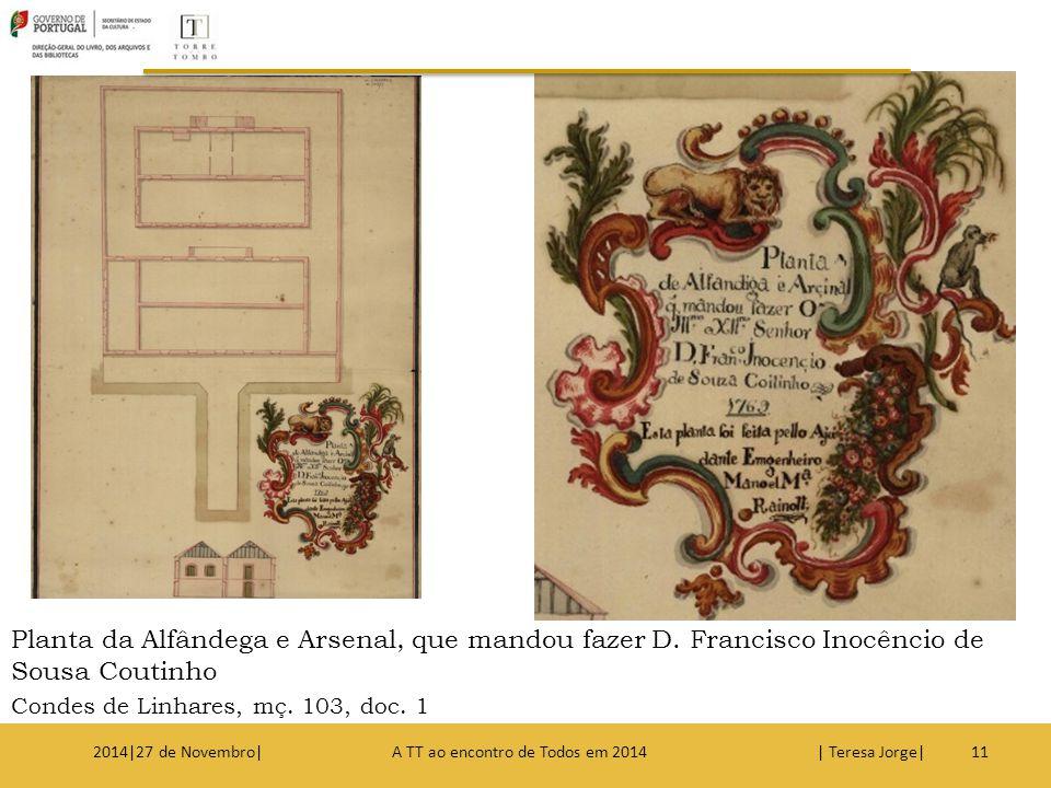 Planta da Alfândega e Arsenal, que mandou fazer D. Francisco Inocêncio de Sousa Coutinho Condes de Linhares, mç. 103, doc. 1 112014|27 de Novembro| A