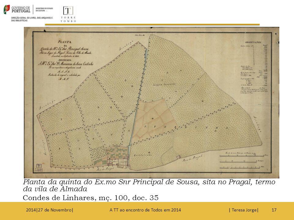Planta da quinta do Ex.mo Snr Principal de Sousa, sita no Pragal, termo da vila de Almada Condes de Linhares, mç. 100, doc. 35 172014|27 de Novembro|