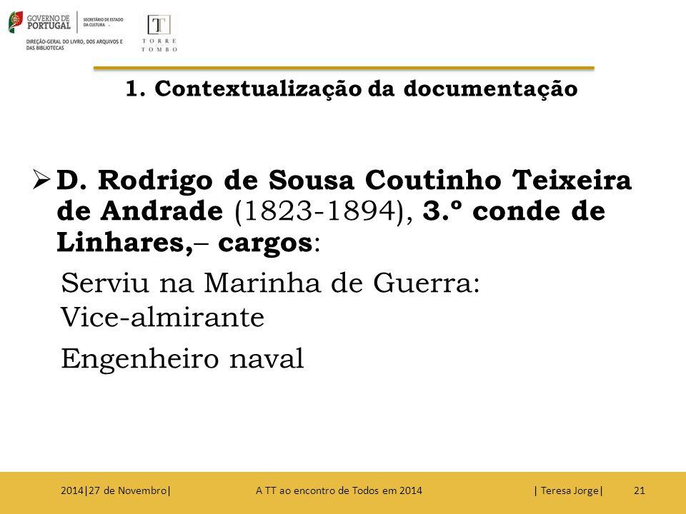  D. Rodrigo de Sousa Coutinho Teixeira de Andrade (1823-1894), 3.º conde de Linhares, – cargos : Serviu na Marinha de Guerra: Vice-almirante Engenhei