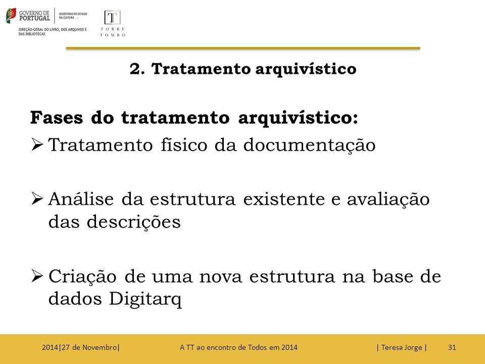 2. Tratamento arquivístico Fases do tratamento arquivístico:  Tratamento físico da documentação  Análise da estrutura existente e avaliação das desc