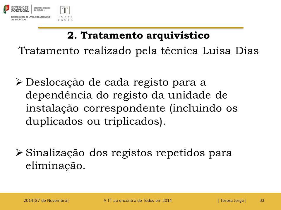 2. Tratamento arquivístico Tratamento realizado pela técnica Luisa Dias  Deslocação de cada registo para a dependência do registo da unidade de insta