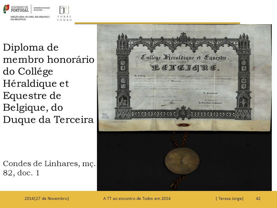 Diploma de membro honorário do Collége Héraldique et Equestre de Belgique, do Duque da Terceira Condes de Linhares, mç. 82, doc. 1 422014|27 de Novemb