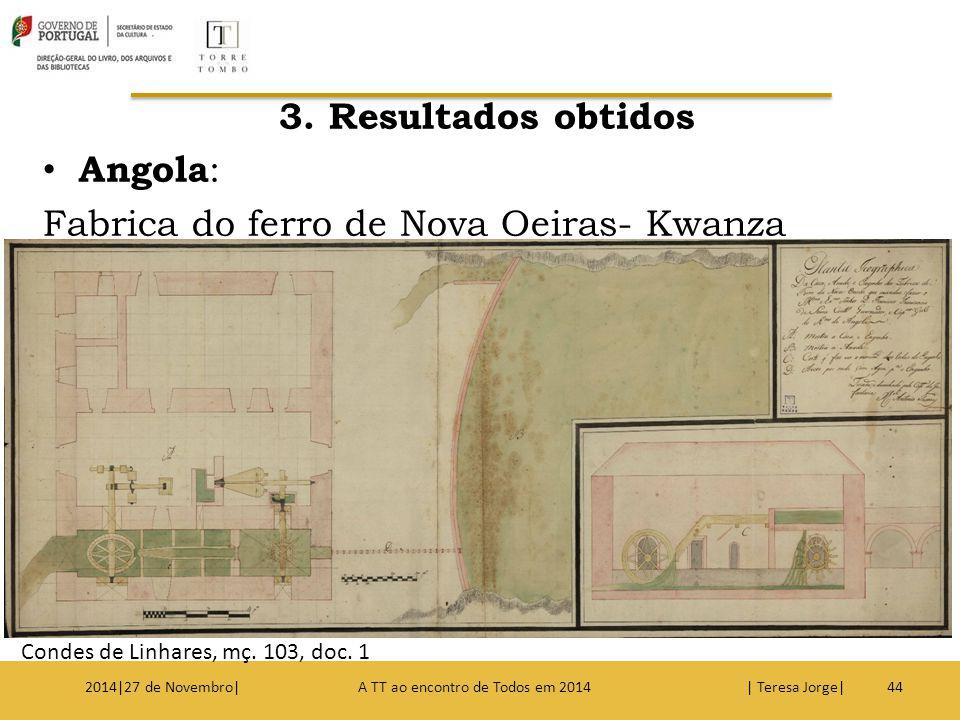 3. Resultados obtidos Angola : Fabrica do ferro de Nova Oeiras- Kwanza 442014|27 de Novembro| A TT ao encontro de Todos em 2014 | Teresa Jorge| Condes
