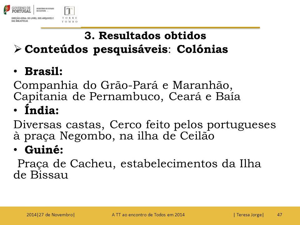 3. Resultados obtidos  Conteúdos pesquisáveis : Colónias Brasil: Companhia do Grão-Pará e Maranhão, Capitania de Pernambuco, Ceará e Baía Índia: Dive