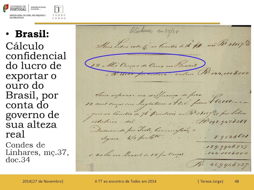 Brasil: Cálculo confidencial do lucro de exportar o ouro do Brasil, por conta do governo de sua alteza real Condes de Linhares, mç.37, doc.34 482014|2