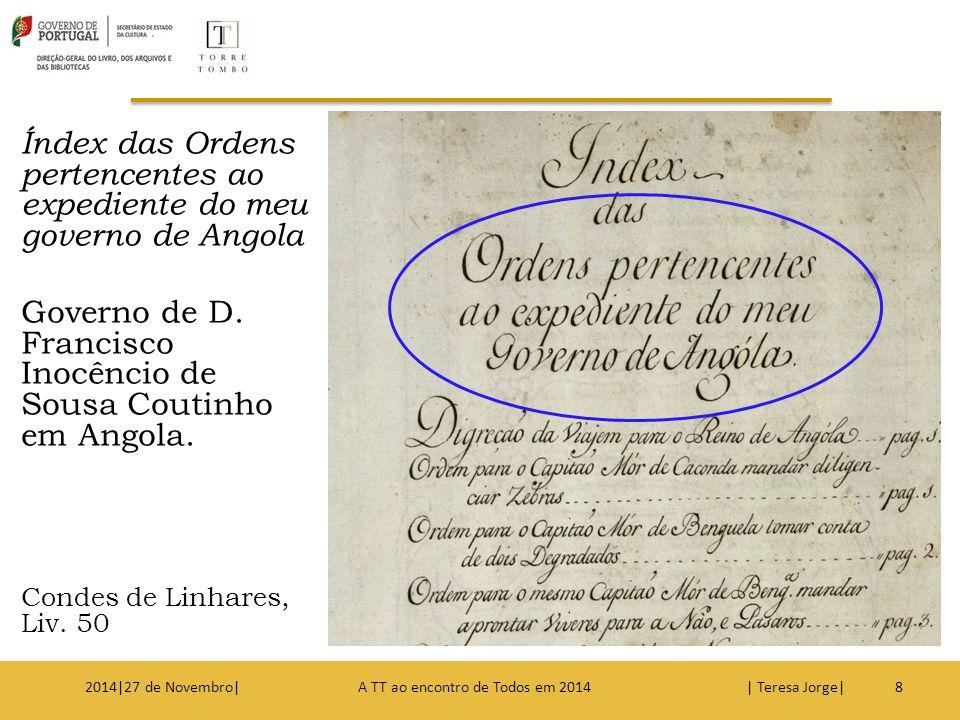 Índex das Ordens pertencentes ao expediente do meu governo de Angola Governo de D. Francisco Inocêncio de Sousa Coutinho em Angola. Condes de Linhares