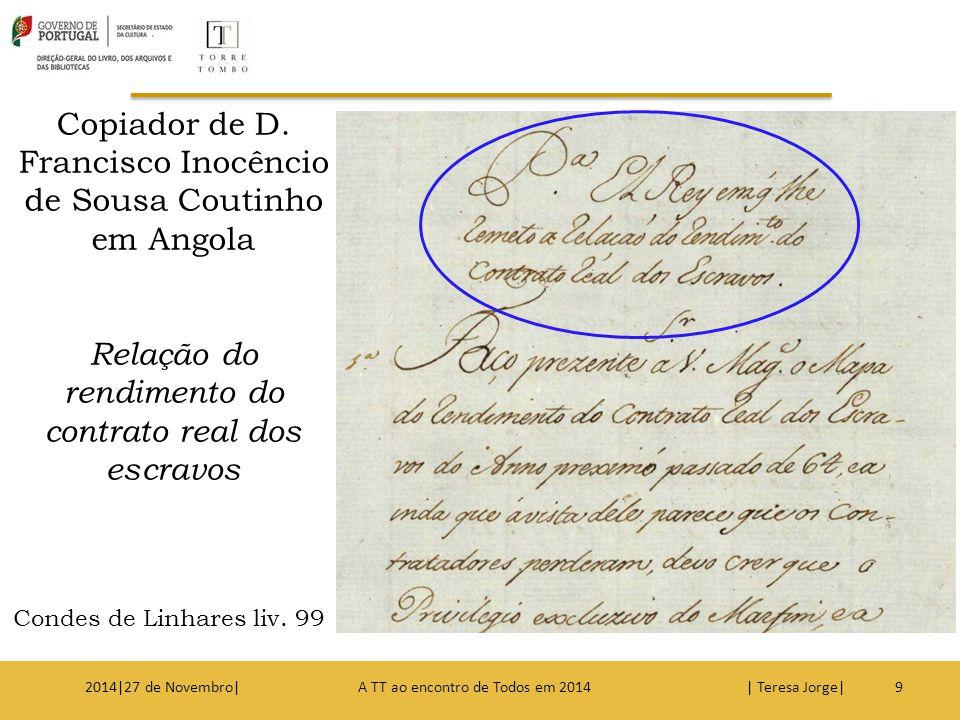 9 Copiador de D. Francisco Inocêncio de Sousa Coutinho em Angola Relação do rendimento do contrato real dos escravos Condes de Linhares liv. 99