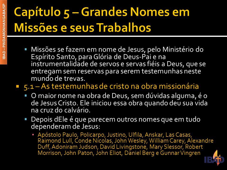 IBAD – PINDAMONHANGABA/SP  Missões se fazem em nome de Jesus, pelo Ministério do Espírito Santo, para Glória de Deus-Pai e na instrumentalidade de se