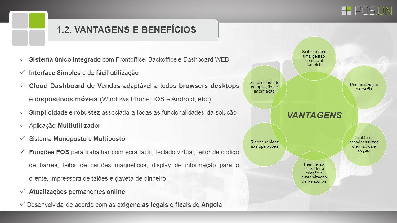 1.2. VANTAGENS E BENEFÍCIOS VANTAGENS Sistema para uma gestão comercial completa Personalização de perfis Gestão de sessões/utilizad ores rápida e seg