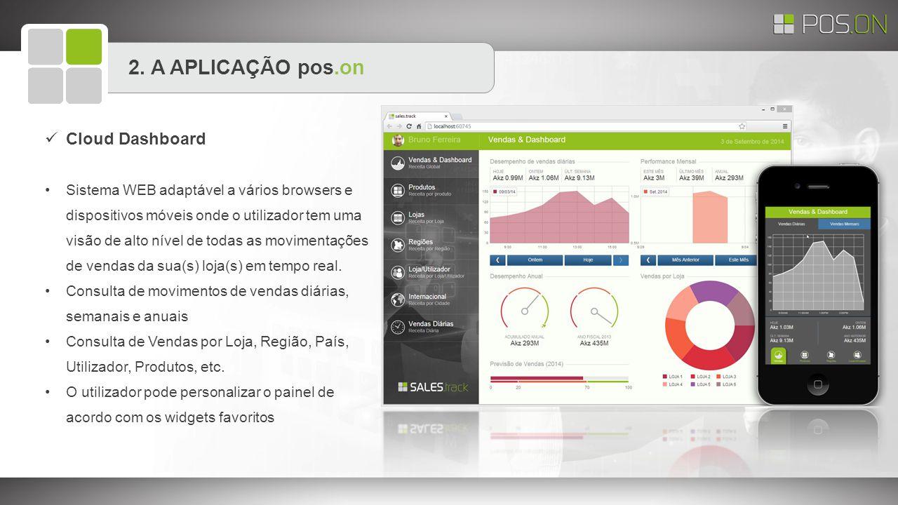 2. A APLICAÇÃO pos.on Cloud Dashboard Sistema WEB adaptável a vários browsers e dispositivos móveis onde o utilizador tem uma visão de alto nível de t