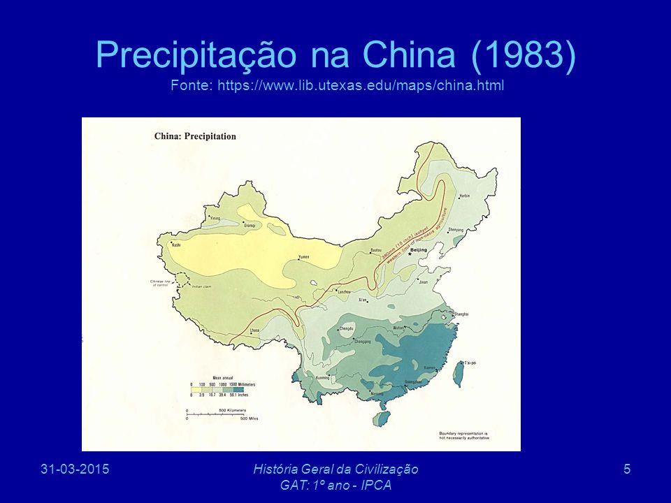 31-03-2015História Geral da Civilização GAT: 1º ano - IPCA 6 Introdução à geografia da China (2) A geografia do Sueste Asiático, devido à sua diversidade, não confere unidade a esta região.