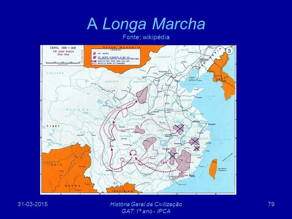 31-03-2015História Geral da Civilização GAT: 1º ano - IPCA 79 A Longa Marcha Fonte: wikipédia