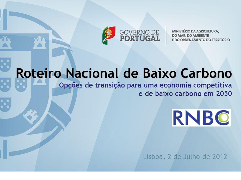 eabilitação 1 Roteiro Nacional de Baixo Carbono Opções de transição para uma economia competitiva e de baixo carbono em 2050 Lisboa, 2 de Julho de 201