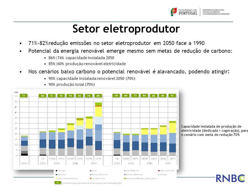 Setor eletroprodutor 71%-82%redução emissões no setor eletroprodutor em 2050 face a 1990 Potencial da energia renovável emerge mesmo sem metas de redu