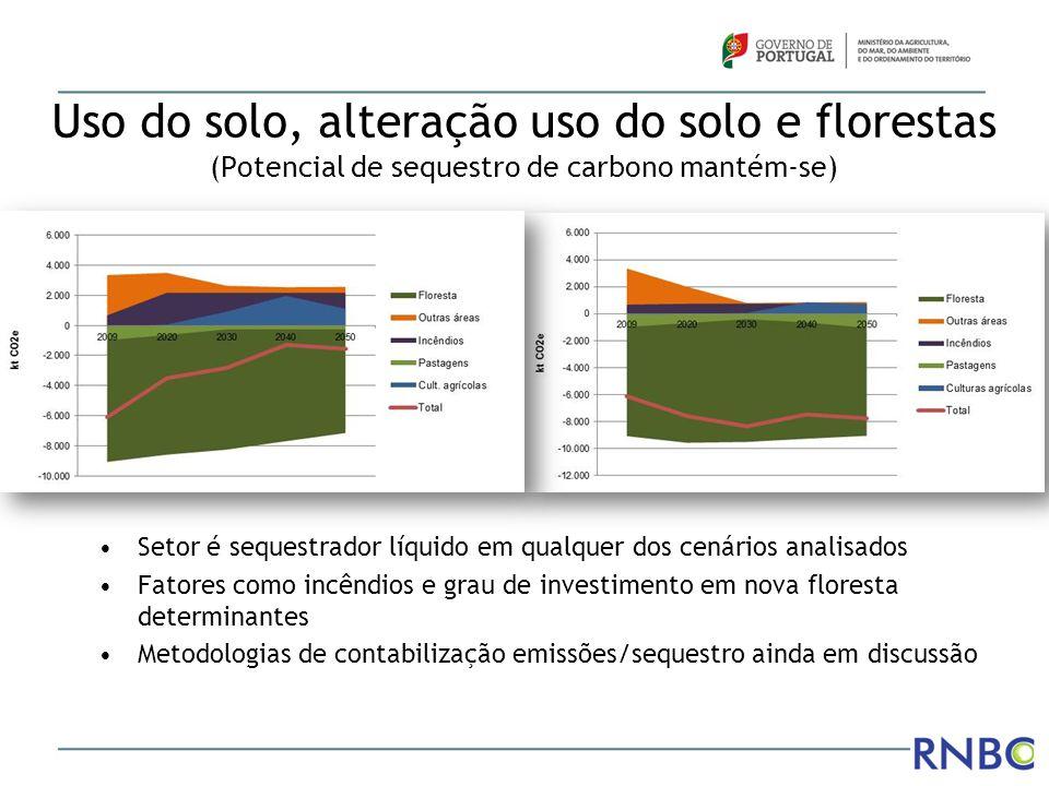 Uso do solo, alteração uso do solo e florestas (Potencial de sequestro de carbono mantém-se) Setor é sequestrador líquido em qualquer dos cenários ana