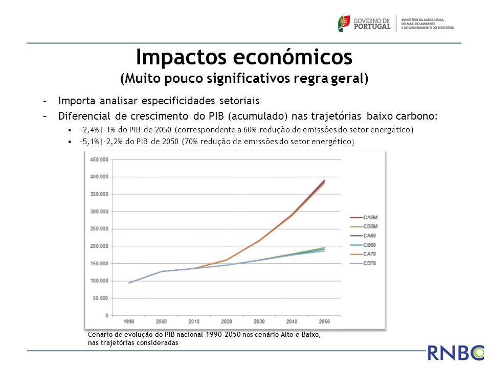Custos de baixo carbono (setor energético) Custo adicional total anual médio(40 anos): – 130-512 milhões €; 0,07%|0,3% PIB 2010 (meta 70%) – 70-380 milhões €; 0,04%|0,2% PIB 2010 (meta 60%) Investimento adicional anual médio(40 anos) –57 – 306 milhões €; 0,03%|0,18% PIB 2010 (meta 70%) –28 – 253 milhões €; 0,02%|0,15% PIB 2010 (meta 60%) Custos incluem investimentos inevitáveis num quadro convergência política, desenvolvimento económico e de mitigação clima, sem os quais poderá haver perda competitividade Estes números estão em linha com exercícios semelhantes, designadamente o Roteiro Europeu de Baixo Carbono
