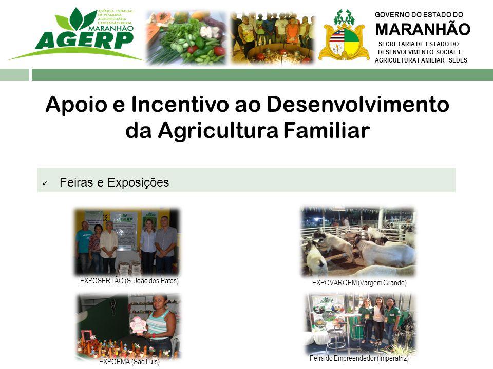 GOVERNO DO ESTADO DO MARANHÃO SECRETARIA DE ESTADO DO DESENVOLVIMENTO SOCIAL E AGRICULTURA FAMILIAR - SEDES Ações de Pesquisa & Desenvolvimento Incremento e incentivo à produção de forma sustentável e equilibrada 52 Sistemas de base Sustentável Implantados.