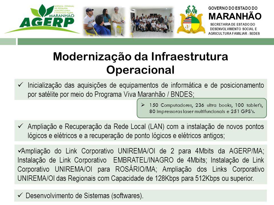 GOVERNO DO ESTADO DO MARANHÃO SECRETARIA DE ESTADO DO DESENVOLVIMENTO SOCIAL E AGRICULTURA FAMILIAR - SEDES Modernização da Infraestrutura Operacional
