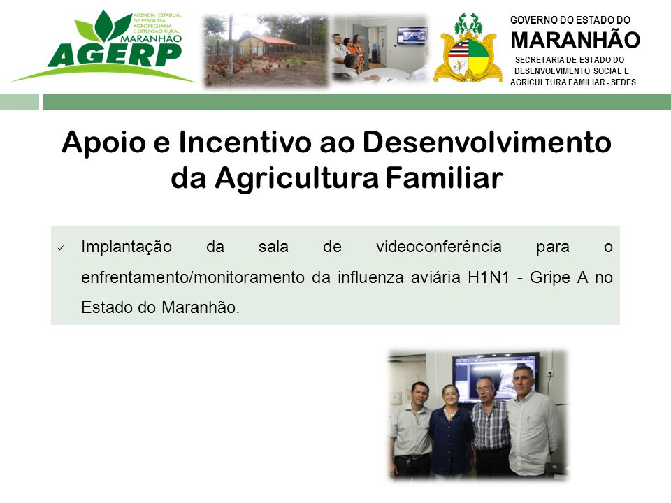 GOVERNO DO ESTADO DO MARANHÃO SECRETARIA DE ESTADO DO DESENVOLVIMENTO SOCIAL E AGRICULTURA FAMILIAR - SEDES Apoio e Incentivo ao Desenvolvimento da Ag