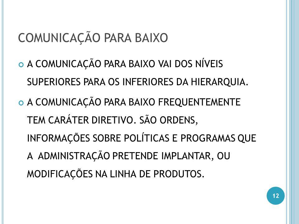 COMUNICAÇÃO PARA BAIXO A COMUNICAÇÃO PARA BAIXO VAI DOS NÍVEIS SUPERIORES PARA OS INFERIORES DA HIERARQUIA. A COMUNICAÇÃO PARA BAIXO FREQUENTEMENTE TE