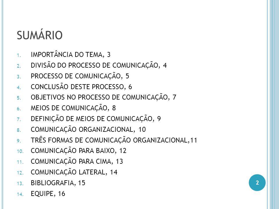 SUMÁRIO 1. IMPORTÂNCIA DO TEMA, 3 2. DIVISÃO DO PROCESSO DE COMUNICAÇÃO, 4 3. PROCESSO DE COMUNICAÇÃO, 5 4. CONCLUSÃO DESTE PROCESSO, 6 5. OBJETIVOS N