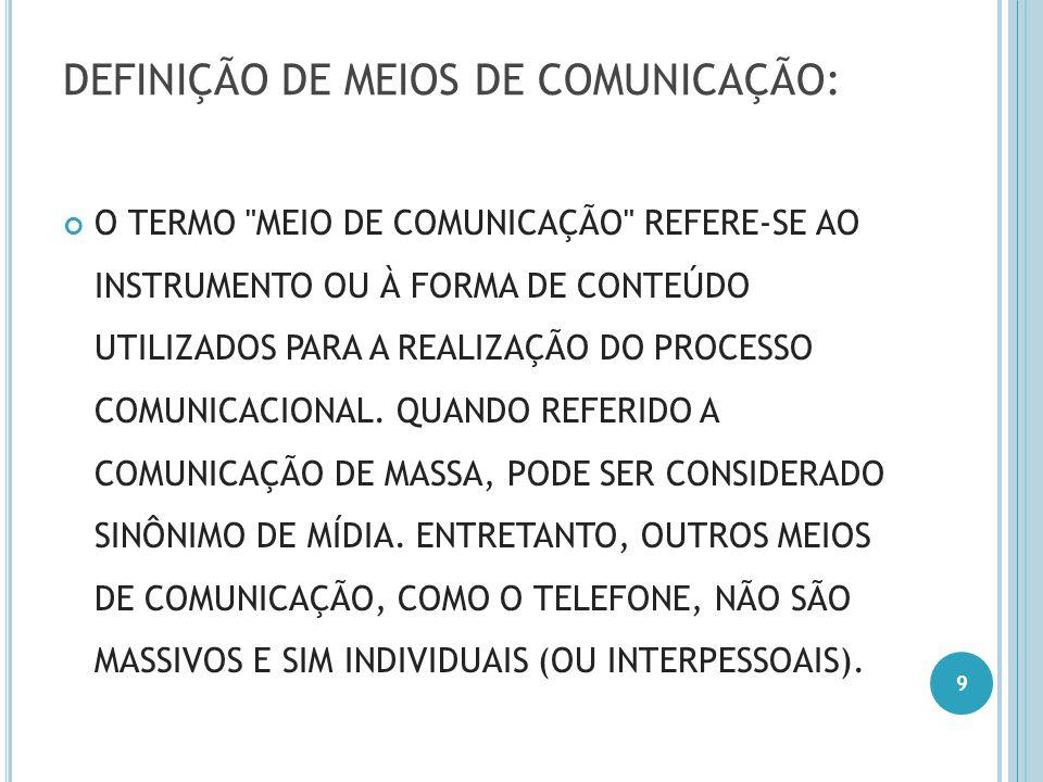 DEFINIÇÃO DE MEIOS DE COMUNICAÇÃO: O TERMO