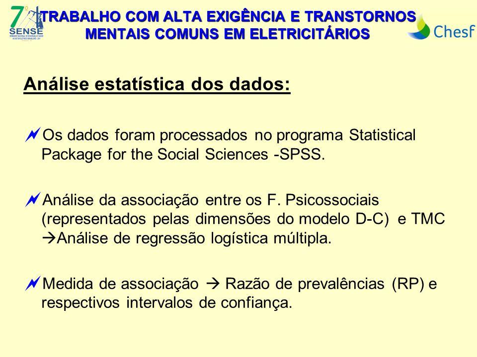 Análise estatística dos dados:  Os dados foram processados no programa Statistical Package for the Social Sciences -SPSS.