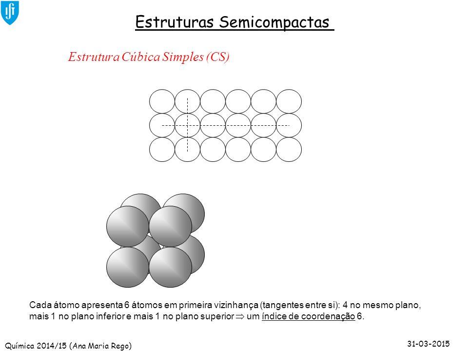 Química 2014/15 (Ana Maria Rego) 31-03-2015 Estruturas Semicompactas Estrutura Cúbica Simples (CS) Cada átomo apresenta 6 átomos em primeira vizinhanç