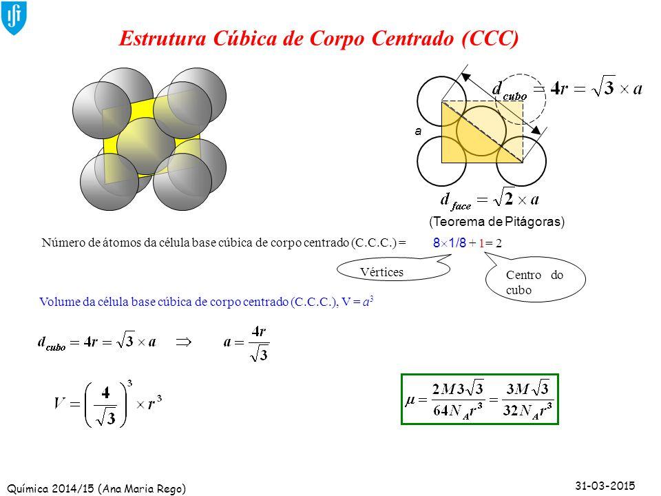 Química 2014/15 (Ana Maria Rego) 31-03-2015 a Estrutura Cúbica de Corpo Centrado (CCC) Volume da célula base cúbica de corpo centrado (C.C.C.), V = a
