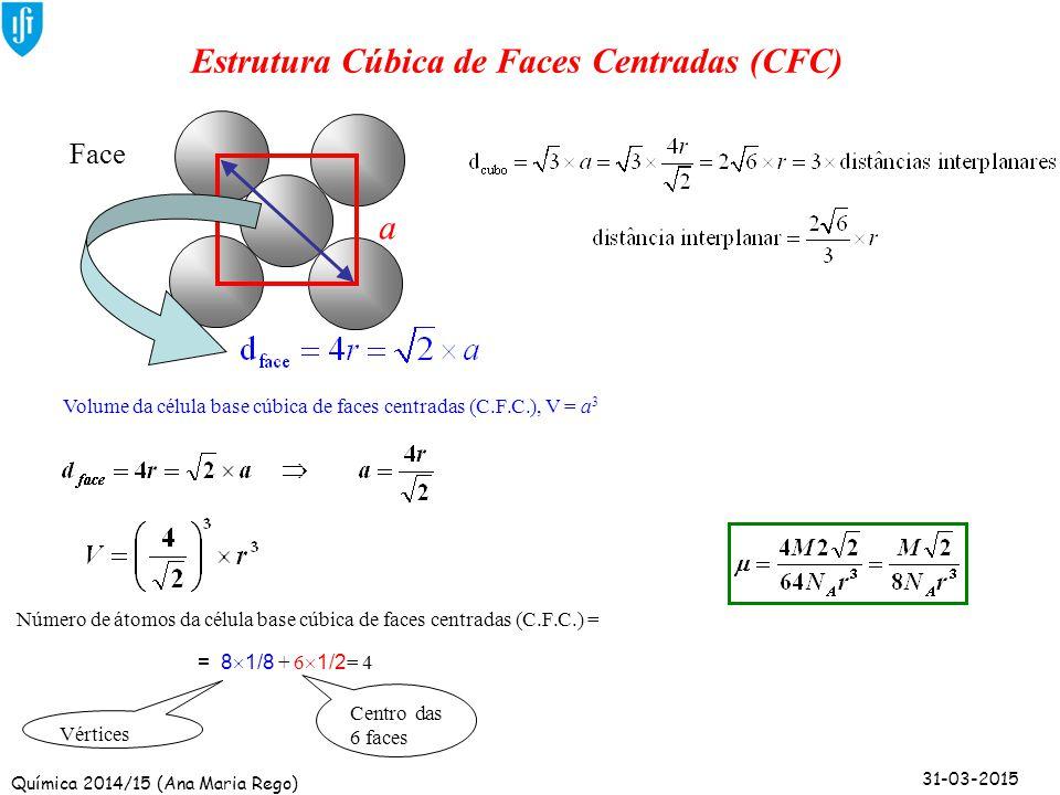 Química 2014/15 (Ana Maria Rego) 31-03-2015 a Estrutura Cúbica de Faces Centradas (CFC) Volume da célula base cúbica de faces centradas (C.F.C.), V =
