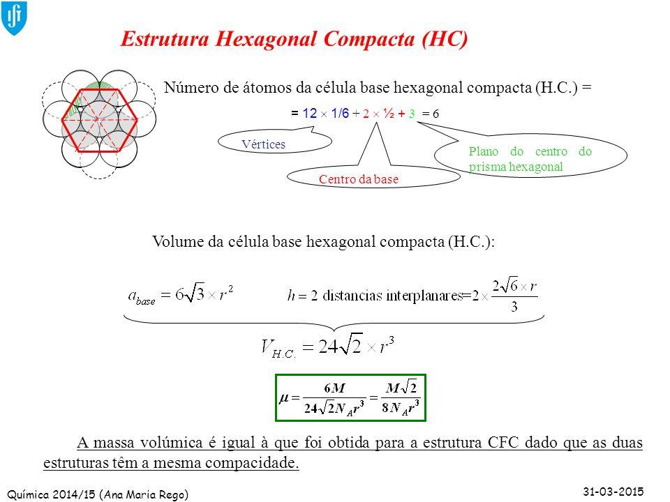 Química 2014/15 (Ana Maria Rego) 31-03-2015 Estrutura Hexagonal Compacta (HC) Vértices Plano do centro do prisma hexagonal Centro da base Número de át