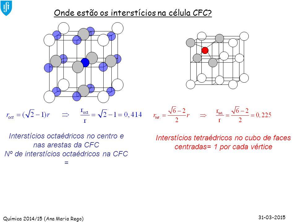 Química 2014/15 (Ana Maria Rego) 31-03-2015 Interstícios tetraédricos no cubo de faces centradas= 1 por cada vértice Nº de interstícios tetraédricos n