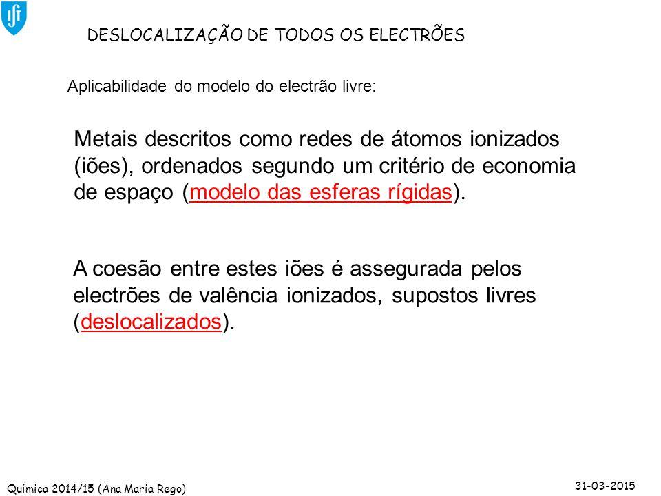 Química 2014/15 (Ana Maria Rego) 31-03-2015 Aplicabilidade do modelo do electrão livre: DESLOCALIZAÇÃO DE TODOS OS ELECTRÕES Metais descritos como red