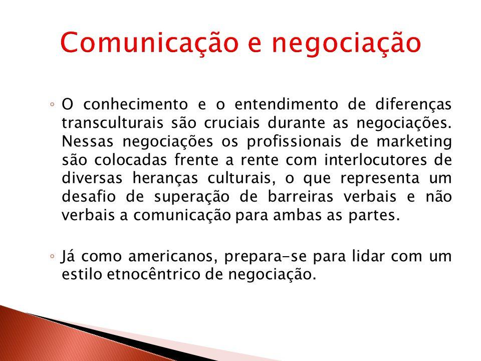 ◦ O conhecimento e o entendimento de diferenças transculturais são cruciais durante as negociações.