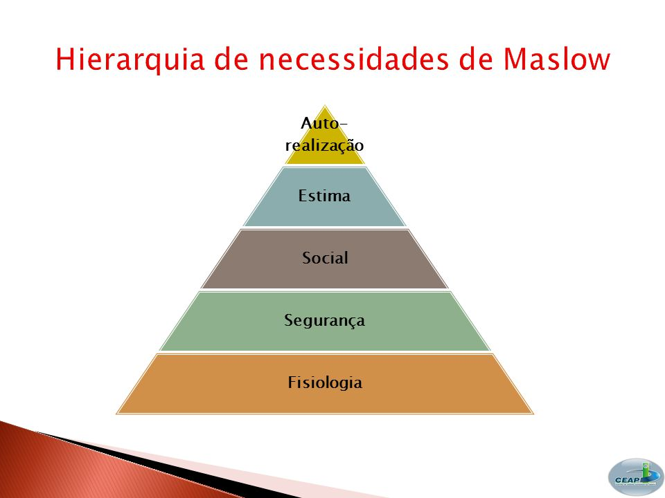 Auto- realização Estima Social Segurança Fisiologia