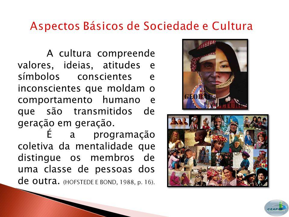 A cultura compreende valores, ideias, atitudes e símbolos conscientes e inconscientes que moldam o comportamento humano e que são transmitidos de geração em geração.