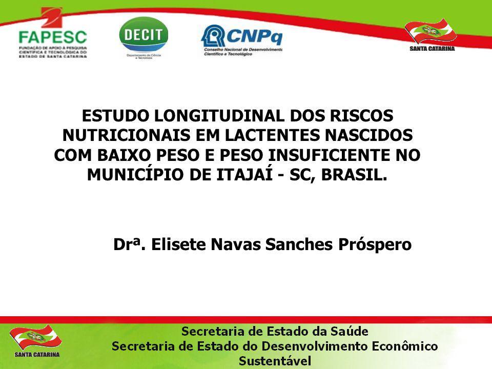 ESTUDO LONGITUDINAL DOS RISCOS NUTRICIONAIS EM LACTENTES NASCIDOS COM BAIXO PESO E PESO INSUFICIENTE NO MUNICÍPIO DE ITAJAÍ - SC, BRASIL. Drª. Elisete