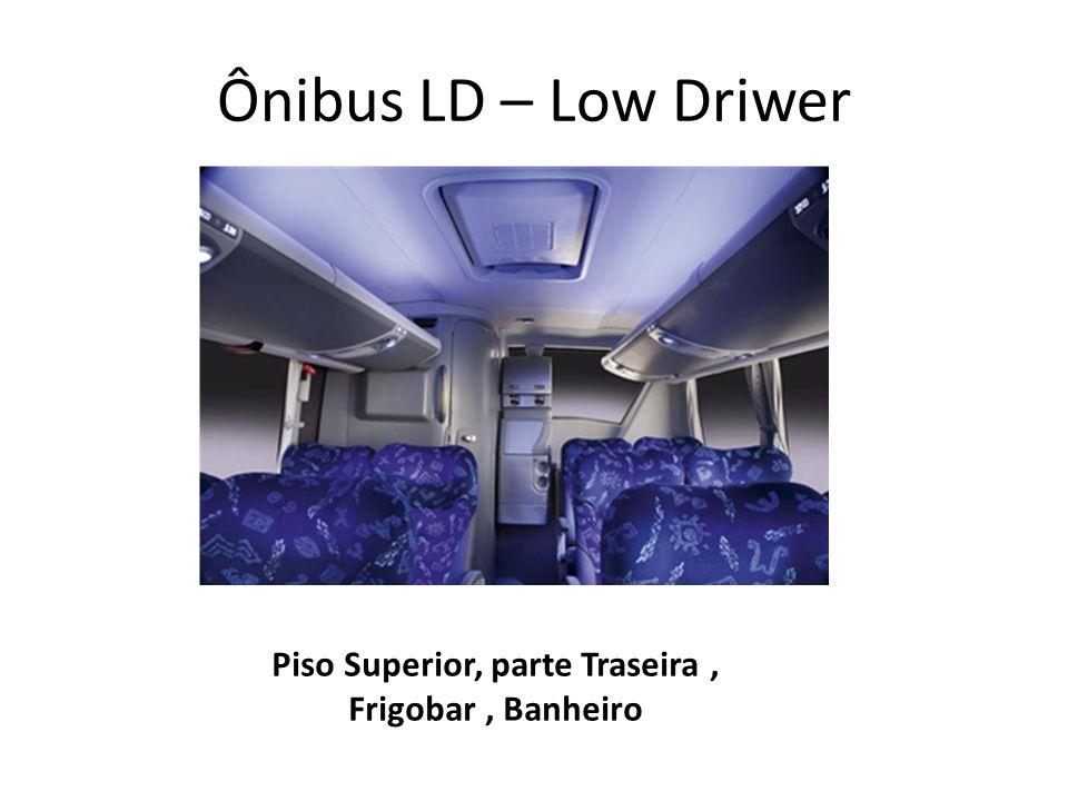 Ônibus LD – Low Driwer Piso Superior, parte Traseira, Frigobar, Banheiro