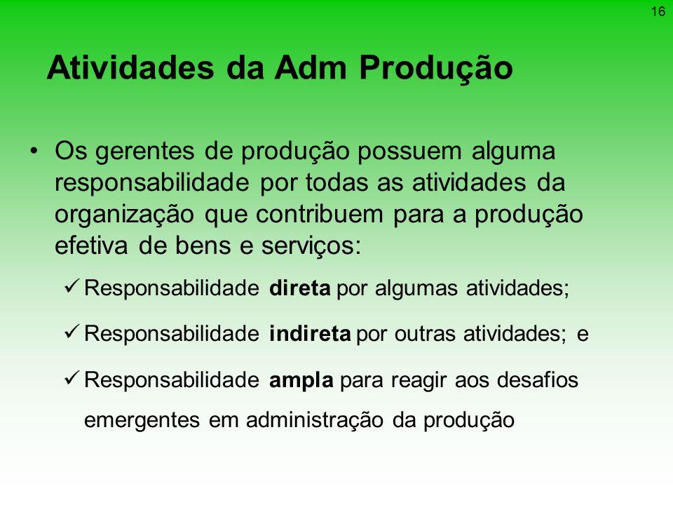 16 Atividades da Adm Produção Os gerentes de produção possuem alguma responsabilidade por todas as atividades da organização que contribuem para a pro
