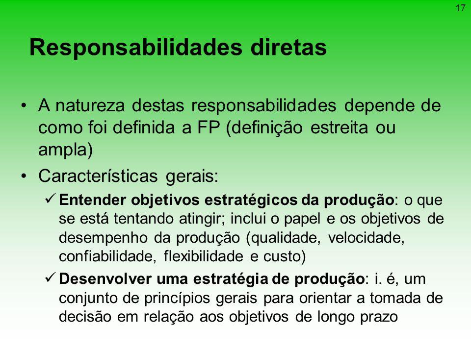 17 Responsabilidades diretas A natureza destas responsabilidades depende de como foi definida a FP (definição estreita ou ampla) Características gerai