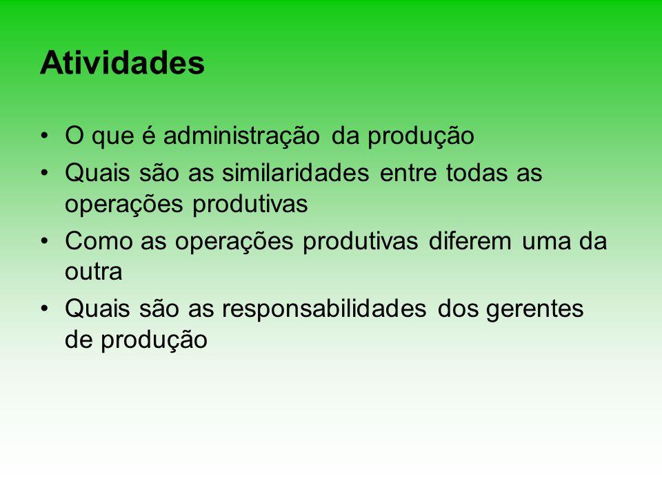 Atividades O que é administração da produção Quais são as similaridades entre todas as operações produtivas Como as operações produtivas diferem uma d