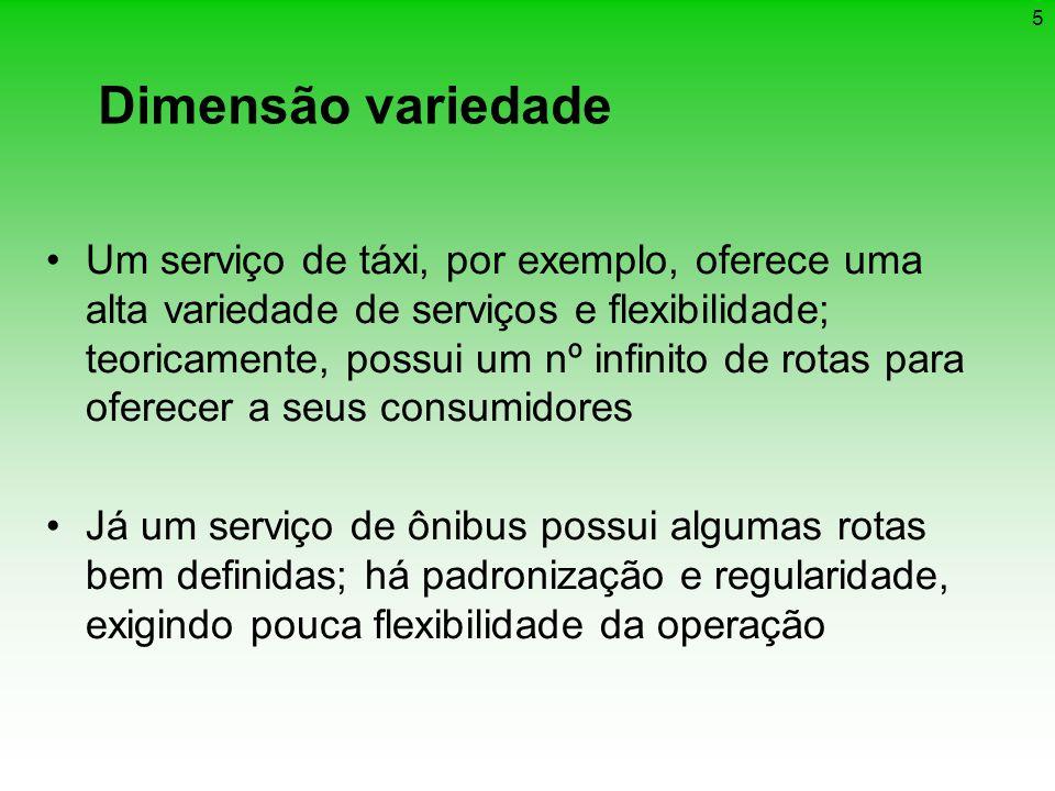 5 Dimensão variedade Um serviço de táxi, por exemplo, oferece uma alta variedade de serviços e flexibilidade; teoricamente, possui um nº infinito de r