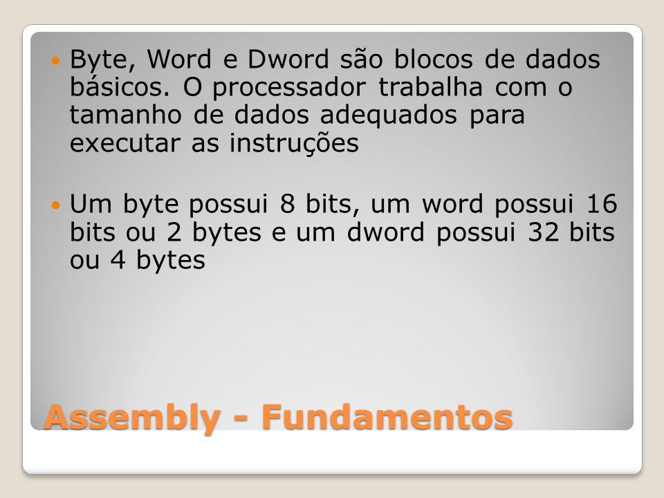 Assembly - Fundamentos Byte, Word e Dword são blocos de dados básicos.