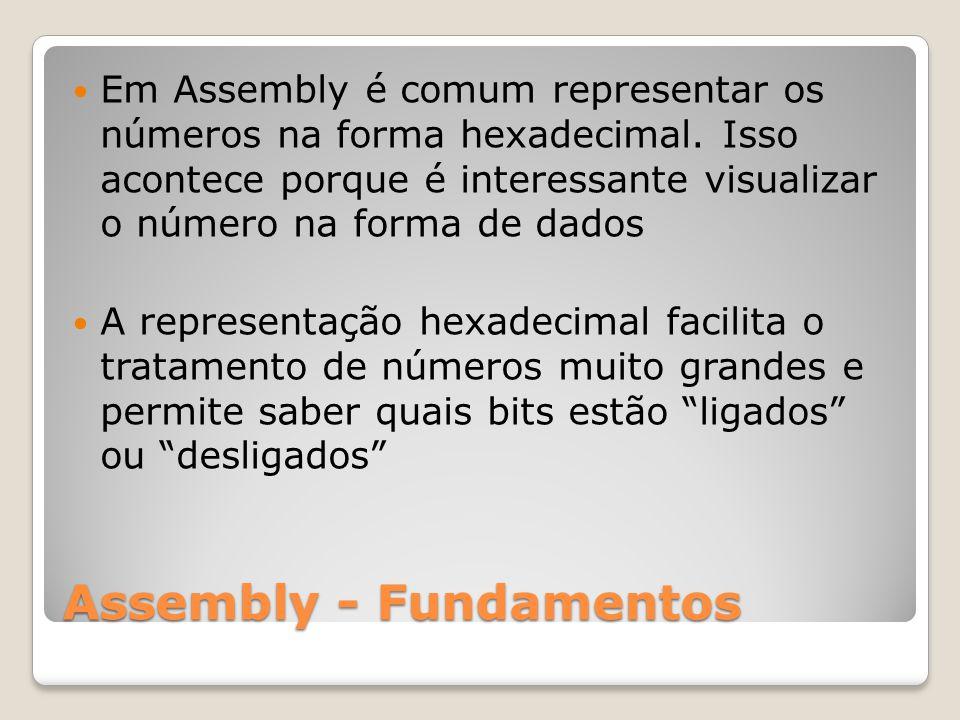 Assembly - Fundamentos Em Assembly é comum representar os números na forma hexadecimal.