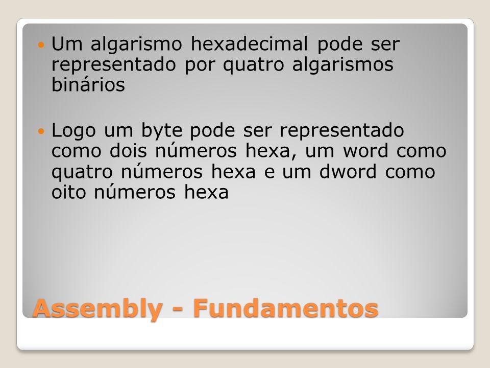Assembly - Fundamentos Um algarismo hexadecimal pode ser representado por quatro algarismos binários Logo um byte pode ser representado como dois números hexa, um word como quatro números hexa e um dword como oito números hexa
