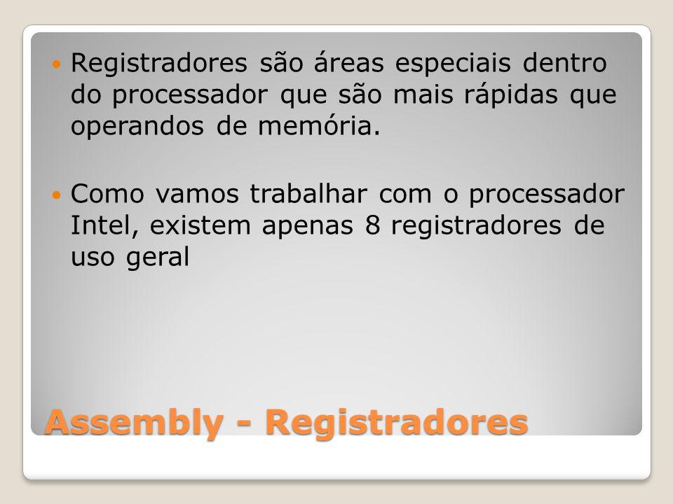 Assembly - Registradores Registradores são áreas especiais dentro do processador que são mais rápidas que operandos de memória.