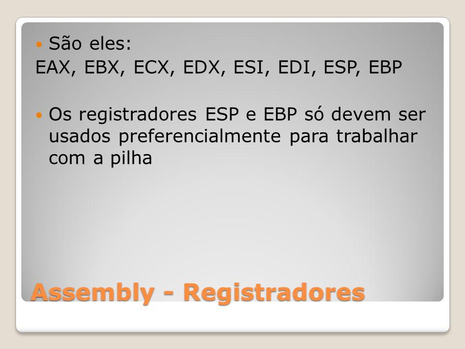 Assembly - Registradores São eles: EAX, EBX, ECX, EDX, ESI, EDI, ESP, EBP Os registradores ESP e EBP só devem ser usados preferencialmente para trabalhar com a pilha